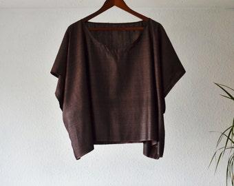 Silk blouse tunic top plum purple mulberry lagenlook eco friendly clothing boho shirts bohemian layering minimalist womens luxury handmade