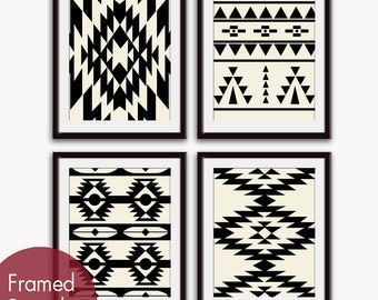 Navajo Indian inspired Geometric Patterns (Series E4) Set of 4 Art Prints (Featured in Black on Soft Cream) Modern Tribal Art