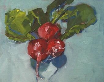 Ready to Hang Art, ORIGINAL OIL Painting, Fruit Art, Food Art, Wall Art 'Radishes' by AndolsekArt