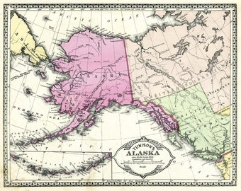 Antique map Alaska  from the 1890s in pastels.  Large map  printable digital download for wall art.  Tunison hand colored steel engraved.