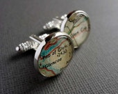Personalised Map Cufflinks, For Him, Bronze Anniversary Gift, Groom Gift, Husband Gift