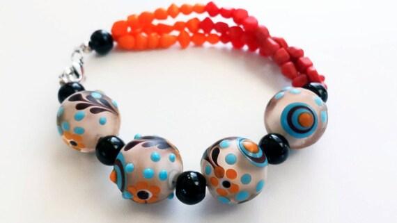 Colorful Bracelet, red bead bracelet, lampwork bracelet, boho bracelet, colorful bead bracelet, orange bead bracelet