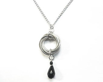 Silver knot necklace, Black crystal necklace, Aluminum chainmaille jewelry, Silver knot on chain