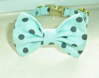 Robin Egg Blue With Grey Dot Bow Tie For Tiny Dogs