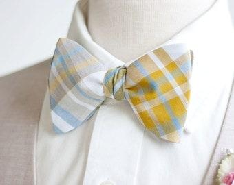Bow Ties, Bowties, Ties, Mens Bow Ties, Freestyle Bow Ties, Self-Tie Bow Ties, Groomsmen Ties - Steel Blue/Grey/Mustard Organic Madras Plaid
