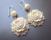 White Carved Rose Dangle Assemblage Earrings Wedding Jewelry OOAK