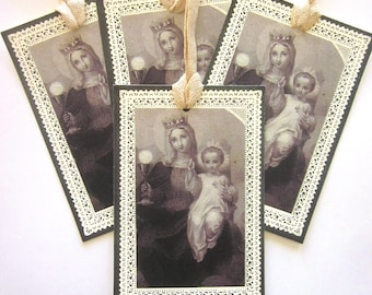Handmade Religious Gift Tag French Holy Card Reproduction Mary and Jesus Holiday Card