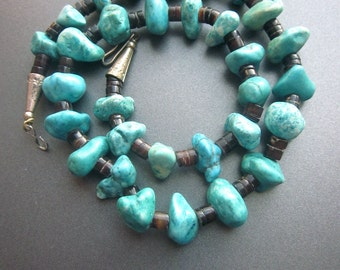Vintage Turquoise Nugget Heishi Necklace Native American Beaded Natural Turquoise Nuggets Southwest Jewelry