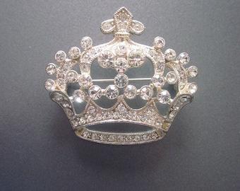 Rhinestone Crown Brooch Crystal Jewelry Queen Pin Vintage Rhinestone Jewelry