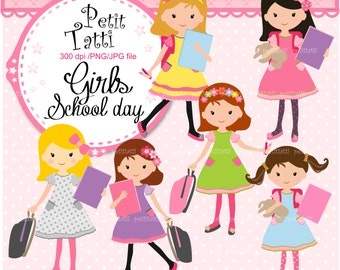 girls clipart,. - school  girl pink clipart, back to school clipart, small commercial personnal use, classmate clip art,ON SALE