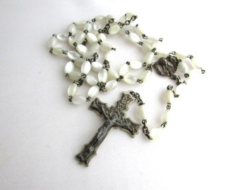 Mother Of Pearl Rosary Beads ROMA Vintage Rosaries Religious Italy