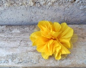 Yellow fabric brooch with tulle. Floral brooch made with a fabric flower and a safety pin. Ecofriendly gift