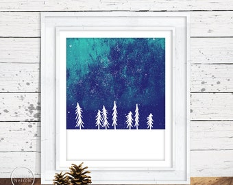 Winter Pine Northern Lights Printable Art - Instant Download 8x10