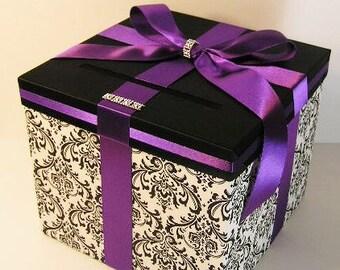 Wedding  Card Box Damask and Purple Gift Card Box Money Box Holder-Customize/made to order (10x10x9)
