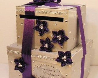 Wedding  Card Box 2 tier Silver and Purple Gift Card Box Money Card Box Holder-customize your color