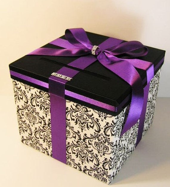 Purple Wedding Gift Card Box : Wedding Card Box Damask and Purple Gift Card Box Money Box Holder ...