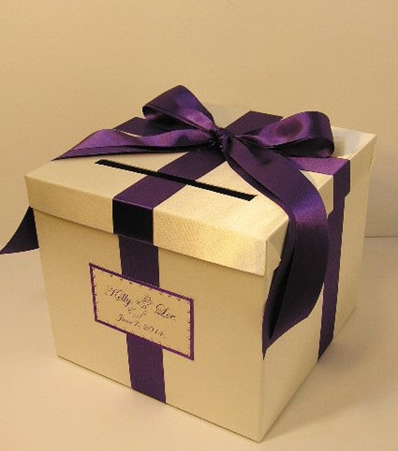 Wedding Card Box Ivory and Purple Gift Card Box Money Box  Holder--Customize your color