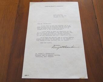 Dwight D Eisenhower signed letter 12/16/52