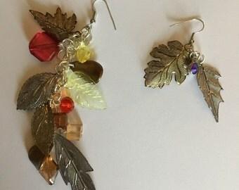 Fall Leaves duster earrings, unmatching earrings