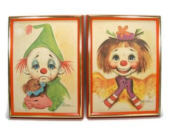 Pair of Dianne Dengel Clown Prints in Orange Wooden Frame