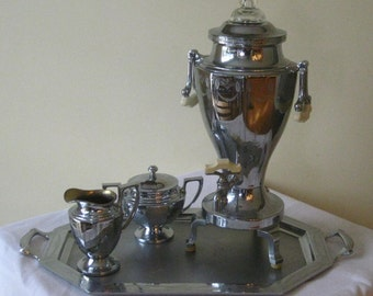 Vintage Art Deco Urn Coffee Set, Universal Chrome Percolator Cream Sugar Large Tray, Bakelite Handles, Etched Glass Dome
