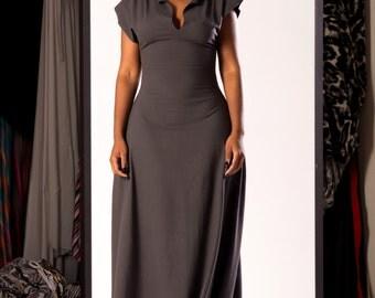 v-neck block sleeve dress