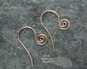 Handmade bronze swirl ear wires x 10 pairs MADE TO ORDER, spiral ear wires, swirl ear wires, solid bronze