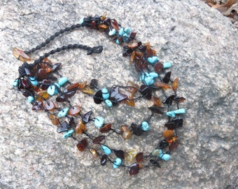 Vintage handmade Amber and Turquoise necklace