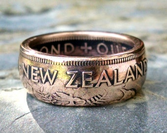 Copper Coin Ring - 1954 Copper New Zealand Penny Coin Ring - Size: 9 1/4