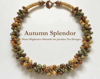 Autumn Splendor Fully Beaded Kumihimo Necklace, Autumn Colors With Copper Detailing, 19 Inch Necklace