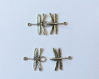 Antique Silver Dragonfly Hook and Clasp