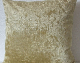 Yellow gold velvet, crocodile print, animal print decorative pillow cover