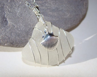 Sea Shell Necklace  - White Sea Glass Pendant - Sterling Silver Wire Wrapped Sea Glass Jewelry
