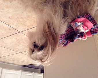 Dog Harness Dress pink and blue plaid XS