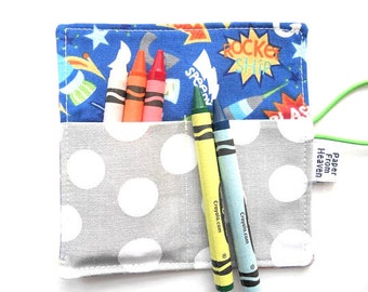 Mini Crayon Roll - Rocket Ship - small crayon holder, space party favor, toddler gift