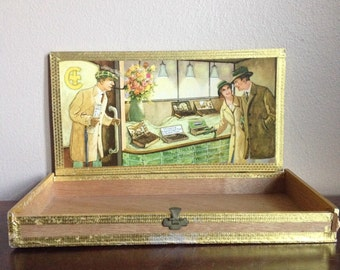 Vintage Wooden Cigar Box. Brazil - Trullerie. West Germany.
