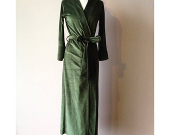 womens long robe in plush cotton velour - made to order