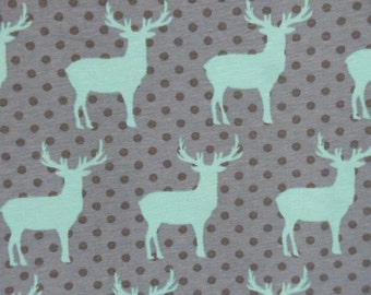 Deer Silhouette Knit Fabric - Grey Polka Dot Kids Cotton Lycra 4 way stretch fabric - Medium Weight Cotton Lycra by the yard The Fabric Zoo