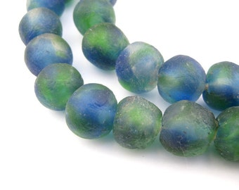Blue & Green Recycled Glass Beads 18mm Made from Bottle Glass in Traditional Kiln for Bracelet, Necklace, Jewelry Design (RCY-RND-MIX-714)