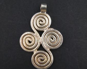 Ethiopian Four Leaf Ornament - Small Silver Pendant - Small Metal Cross - Christian Pendant - Ethiopian Pendant - 2cm Ornament (PND-ETH-125)