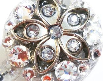 Silver Rhinestone and Metal Flower and Swarovski Crystal Embellished ID Badge Reel