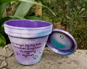Pet Memorial Gift - Cat Memorial Gift - Dog Memorial Gift - Painted Flower Pot - Rustic with Paw Prints - Seed Card