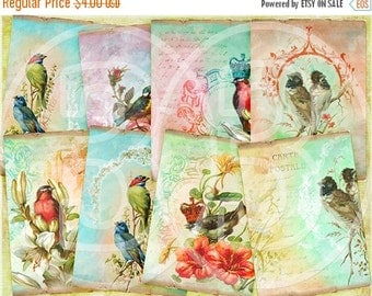 30% OFF SALE - Oh Birds  ATC Cards, Vintage Tags