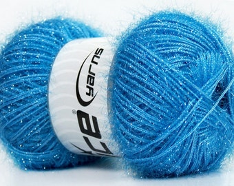 ice yarns sparkle lurex blue light sparkly fuzzy soft 100gr 1 skein knitting shimmering sparkly material shipping at usps cost 35787
