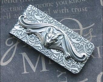 Vampire Bat Money Clip Silver Money Clip Father's Day Gift Groomsmen Wedding VAMPIRE Credit Card Holder Gift Luxury BAT Steampunk Money Clip