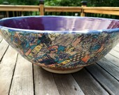 Handmade ceramic bowl purple with decal design