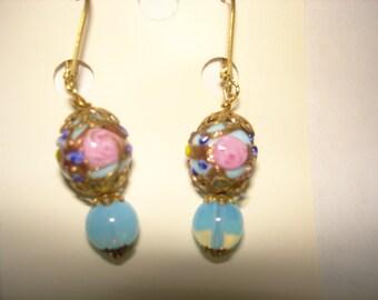 Asian Vintage Jewelry Flower Cloisonne Blue Beads Earrings  Multi Tone