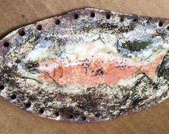 Salmon Swimming Upstream Pottery Basket Start 3D Peach Brown Green Cream