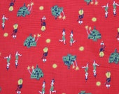 "Juvenile cotton Fabric Seersucker Red Asian  44"" length x 36"" width Novelty VINTAGE by Plantdreaming"