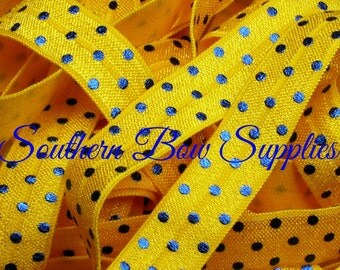 NEW----5/8 inch wide FOE Fold Over Elastic----1 Yard----Royal Blue on Yellow----Foil Swiss Polka Dots---USA Designer
